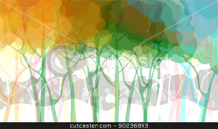 Abstract forest background stock vector clipart, Fantasy forest landscape, abstract art by Richard Laschon