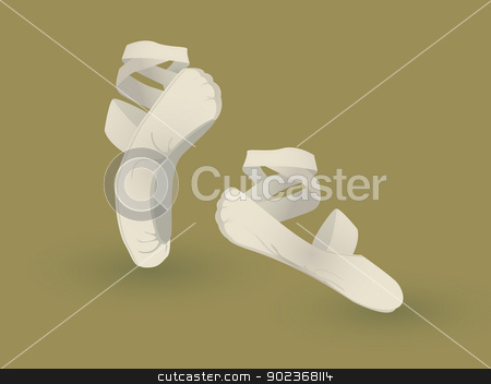 Ballet shoes stock vector clipart, A pair of dancing ballet shoes by Richard Laschon