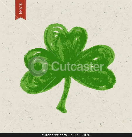 Clover sign on paper texture. Vector, EPS10 stock vector clipart, Clover sign on paper texture. Vector, EPS10 by pashabo