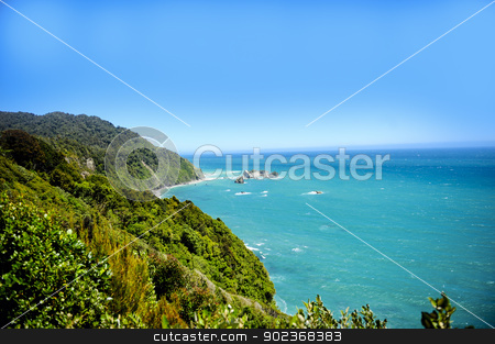 Te Wahipounamu stock photo, Te wahipounamu lookout on the tasman sea, South Island New Zealand by Don Fink