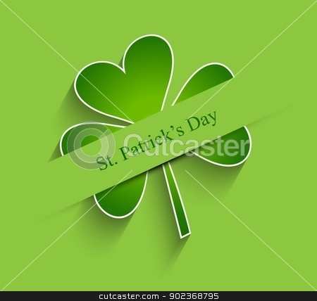 St patrick day shiny single leaf vector background  illustration stock vector clipart, St patrick day shiny single leaf vector background  illustration by bharat pandey