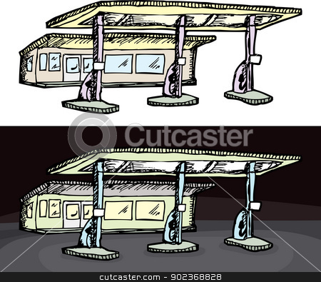 Generic Gas Station stock vector clipart, Gas filling station in isolated and night versions by Eric Basir