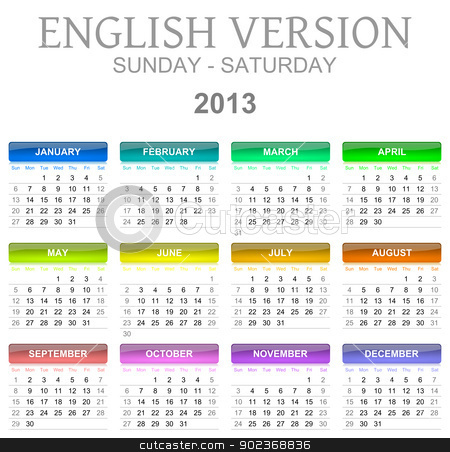 2013 calendar english version sun - sat stock photo, Colorful sunday to saturday 2013 calendar english version illustration by make