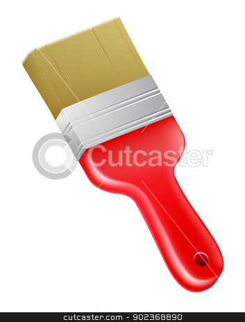Cartoon paint brush stock vector clipart, A drawing of a cartoon red paint brush by Christos Georghiou