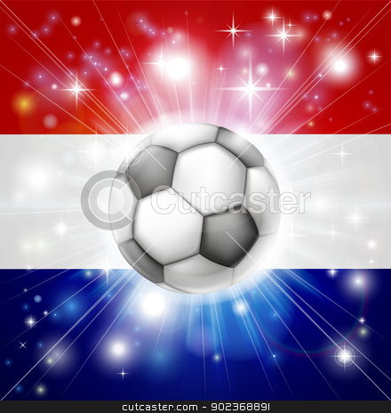 Dutch soccer flag stock vector clipart, Flag of the Netherlands soccer background with pyrotechnic or light burst and soccer football ball in the centre  by Christos Georghiou