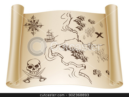 Old Treasure map on scroll stock vector clipart, An illustration of an old treasure map on a rolled up paper scroll with x marking the spot by Christos Georghiou