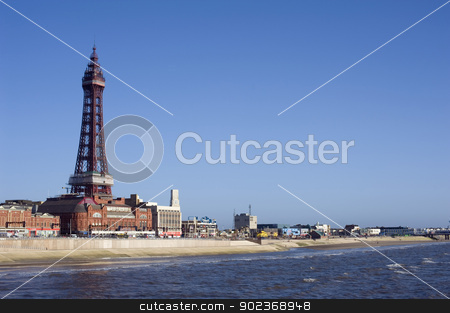 Blackpool waterfront with Blackpool Tower stock photo, Blackpool waterfront and beach with Blackpool Tower, a historical Victorian lattice structure, overlooking the ocean by Stephen Gibson