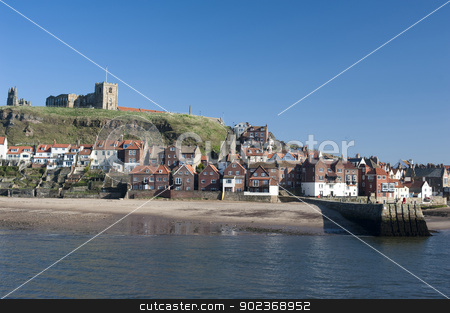 Whitby in North Yorkshire stock photo, View of the waterfront and houses in Whitby in North Yorkshire with Tate hill in the background by Stephen Gibson