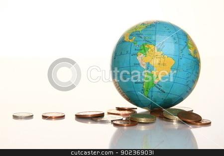 Globe stock photo, image of globe with money on shiny surface with a white background by zuzanaderek