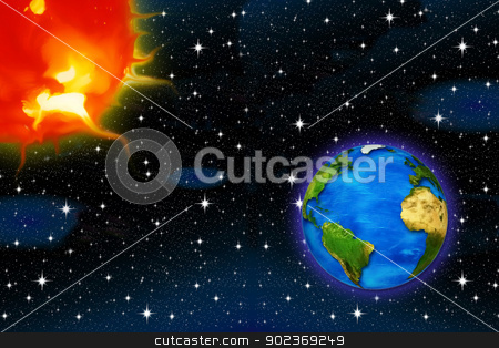 Astronomy stock photo, planet earth and the sun on a background of stars for air space by Cochonneau