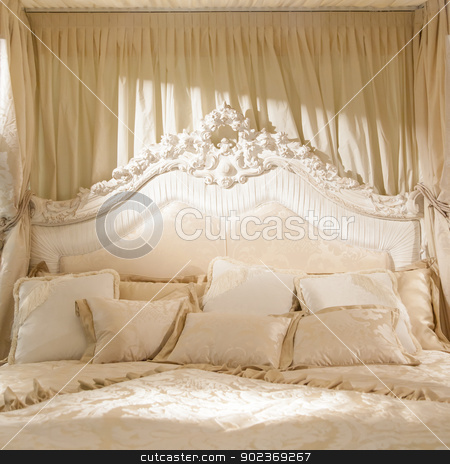 Romantic bedroom stock photo, White bedroom with soft light for this romantic picture by Paolo Gallo
