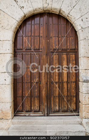 Old wooden entrance door stock photo, Old wooden entrance door in Valladolid,