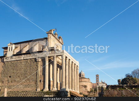 View of details of Ancient Rome stock photo, Details of remains and ruins in Ancient Rome Italy showing Temple of Antoninus and Faustina by Steven Heap