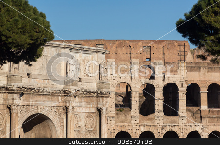 Arch of Constantine in Rome stock photo, Detail of arch of Constantine and Colosseum in Ancient Rome by Steven Heap