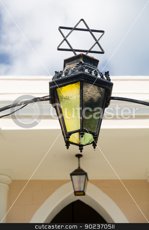 Antique lamp at entrance to synagogue stock photo, Antique lamp at entrance to synagogue in Charlotte Amalie St Thomas by Steven Heap
