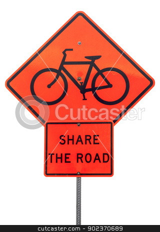 share the road sign stock photo, share the road with bicycles - orange traffic warning sign isolated on white by Marek Uliasz