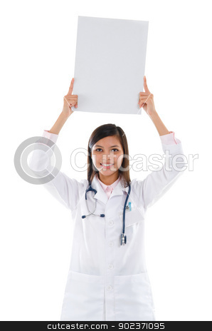 Southeast Asian female medical student stock photo, Southeast Asian female medical doctor showing white blank card on top of head, isolated on white background. by szefei