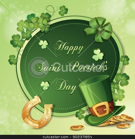 Saint Patrick's Day card  stock vector clipart, Saint Patrick's Day card with clover ,hat and gold  by Loradora