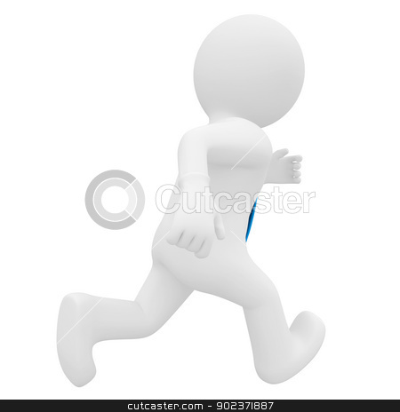 3D man running stock photo, 3D man running. Isolated render on a white background by cherezoff
