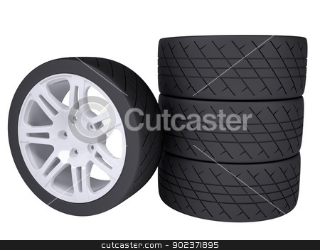 Wheels stock photo, Wheels. Isolated render on a white background by cherezoff