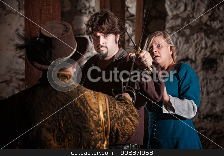 Fighter Defending Scared Woman stock photo, Swordsman confronts attacker in front of scared woman  by Scott Griessel