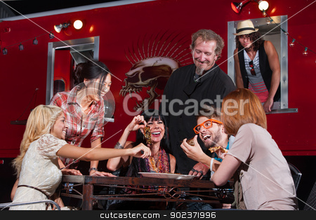 Mobile Cafe Dining stock photo, Happy group of people with pizza slices and chef at canteen by Scott Griessel