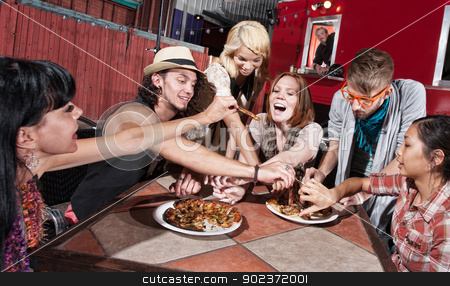 Mixed Group at Mobile Cafe stock photo, Group of happy people eating out at mobile restaurant by Scott Griessel