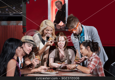 Food Truck Diners stock photo, Mixed group of hipsters with pizza at food truck by Scott Griessel