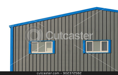 Commercial warehouse building stock photo, Exterior of commercial warehouse building isolated on white background. by Martin Crowdy