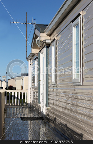 Exterior of mobile home stock photo, Exterioer of mobile home on caravan park. by Martin Crowdy
