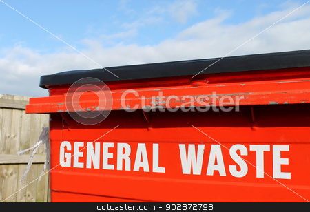 General waste bin stock photo, Industrial general waste bin with cloudscape background. by Martin Crowdy