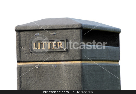 Litter bin stock photo, Litter bin isolated on a white background. by Martin Crowdy