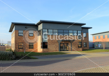 Modern office building to let stock photo, Exterior of empty modern office building to let on business park. by Martin Crowdy