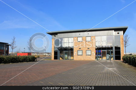 New modern office building stock photo, New modern office building in business park. by Martin Crowdy