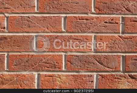 Red brick wall background stock photo, Abstract closeup of textured red brick wall background. by Martin Crowdy