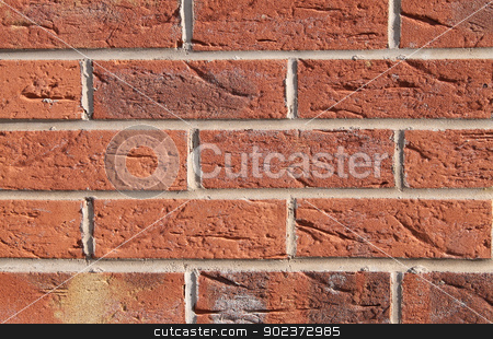 Red brick wall background stock photo, Background of new red brick wall. by Martin Crowdy
