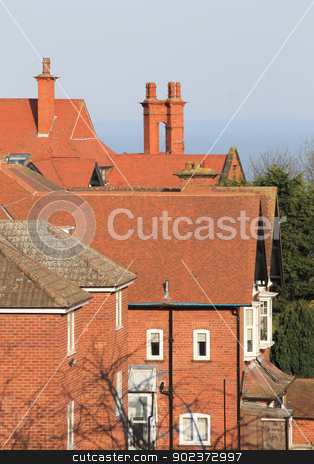 Red tiled house rooftops stock photo, Red tiled house rooftops, Scarborough, England. by Martin Crowdy