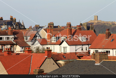 Scarborough Castle and houses stock photo, Red tiled houses in city, Scarborough, North Yorkshire, England.  by Martin Crowdy