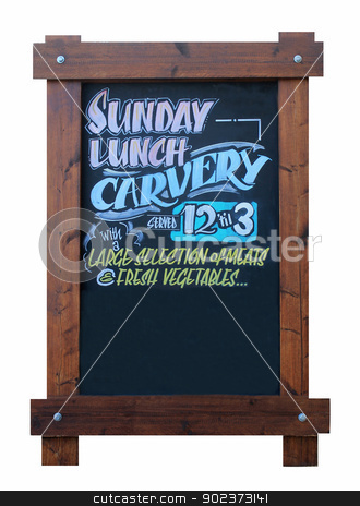 Sunday carvery pub sign stock photo, Sunday carvery pub sign isolated on white background. by Martin Crowdy