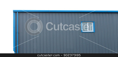 Warehouse building stock photo, Exterior of warehouse building isolated on white background. by Martin Crowdy