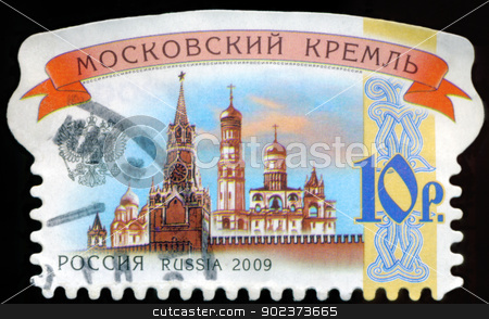RUSSIA - CIRCA 2009: stamp printed by Russia, shows Moscow Kreml stock photo, RUSSIA - CIRCA 2009: stamp printed by Russia, shows Moscow Kremlin, circa 2009. by aarrows