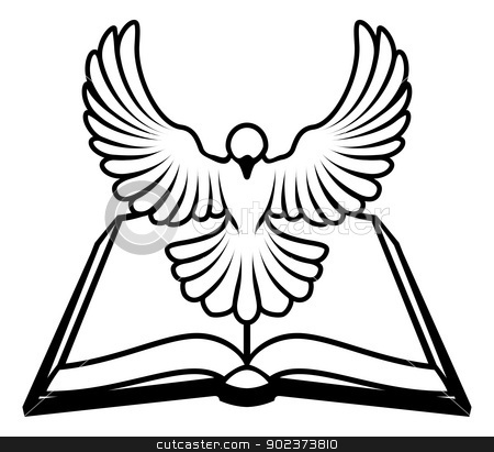 Christian Bible Dove Concept stock vector clipart, A Christian Bible dove concept, with a white dove representing the holy spirit flying out of the bible. Could refer to inerrant or inspired nature of the bible, or word of God coming to us through the bible. by Christos Georghiou
