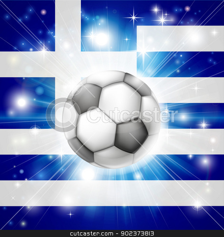 Greek soccer flag stock vector clipart, Flag of Greece soccer background with pyrotechnic or light burst and soccer football ball in the centre  by Christos Georghiou