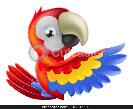 Red pointing cartoon parrot stock vector clipart, A red macaw parrot leaning round a sign or banner and pointing his wing at what is written on it by Christos Georghiou
