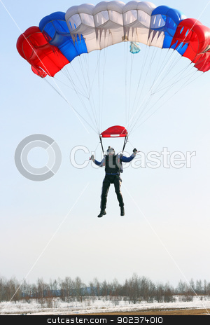 Parachutist Jumper in the helmet after the jump stock photo, Parachutist Jumper in the helmet after the jump by aarrows