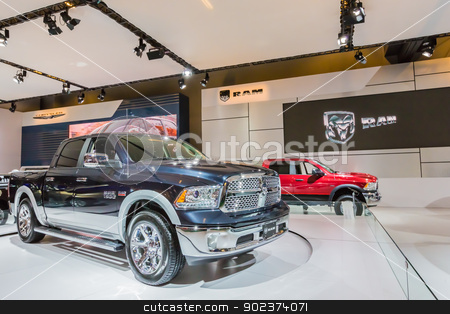 2013 Ram 1500 stock photo, A 2013 Ram 1500 in Montreal Auto Show, Quebec, Canada by Peter Kolomatski