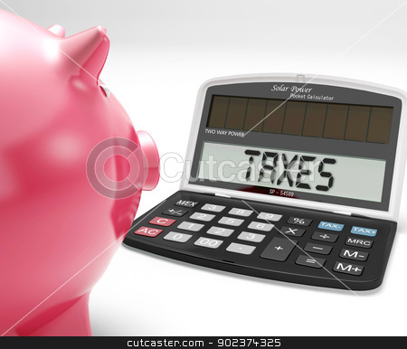 Taxes On Calculator Shows Income Tax Return stock photo, Taxes On Calculator Showing Income Tax Return by stuartmiles