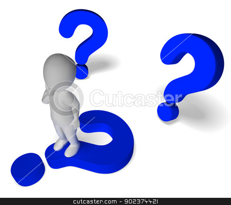 Question Marks Around Man Showing Confusion And Not Sure stock photo, Question Marks Around Man Shows Confusion And Not Sure by stuartmiles