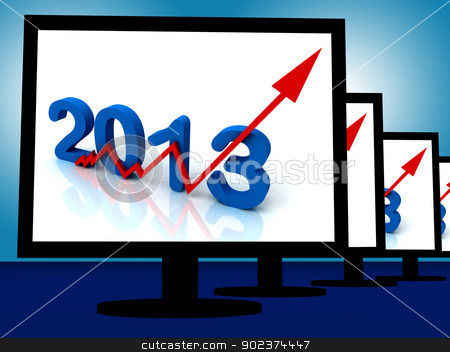 2013 On Monitors Shows Monetary Increase And Forecasting stock photo, 2013 On Monitors Shows Monetary Increase And Forecasting by stuartmiles