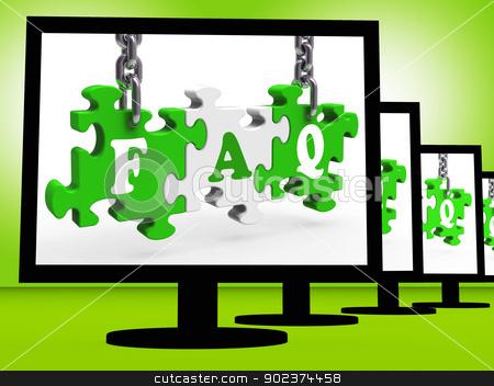 FAQ On Monitors Showing Asking stock photo, FAQ On Monitors Showing Asking And Requesting by stuartmiles